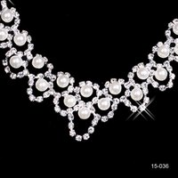 Wholesale pageant earrings necklace resale online - Rhinestone Bridal Jewelry Sets Earrings Necklace Crystal Bridal Prom Party Pageant Girls Wedding Accessories