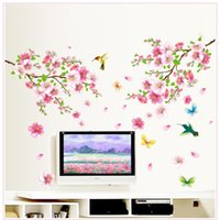Wholesale Sakura Wall Decal - hot sell sakura flowers wall stickers tv background room decorations 9158. diy home decals removable mural art print posters 3.5