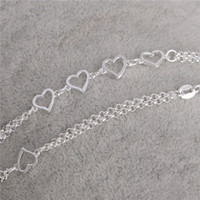 Wholesale Love Sexy - Newest 1PC 925 Sterling Silver Love Heart jewelry accessories women Sexy beach Anklet Free Shipping