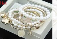 Wholesale Pearl Bangles Designs - 2015 Hot Spring Bracelet Korean Design Fashion Bohemia Beads Bracelet Peal Star Towl Beaded Multilayer Bracelets Bangles For Women Girl 9982