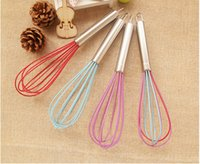 """Wholesale Whisk Egg Handle - Wholesale 10"""" SILICONE COATED EGG WHISK EGGBEATER STAINLESS STEEL HANDLE KITCHEN GADGET DHL FEDEX FREE SHIPPING"""