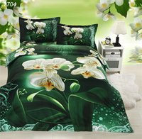 Wholesale Green White Flowered Quilt - Green 3D bedding sets white flowers painting bedding double bed covers comforter cover set cover for quilts and comforters 2704