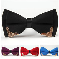 Wholesale bow metal buckle resale online - Metal Bow Ties Korean Silk Adjust the buckle Men s bowknot solid colors Neck Tie Occupational tie for Father s Day tie Christmas Gift