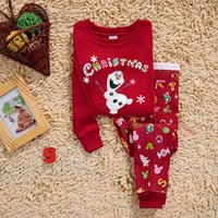 Wholesale Cute Red Sleepwear - New 6sets lot Baby girls sleepwear,kids long sleeve cute Olaf pajamas,Children cartoon snowman nightwear homewear B001