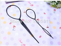 Wholesale Tail Hair Braid - 1Pair Free Shipping Black Hair Band Casual Headwear Tail Hair Braid Pony Tail Maker Styling Tool Fashion Salon