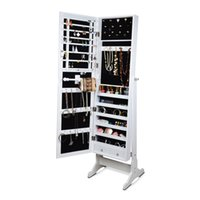 Wholesale Free Shipping Bedroom Furniture - Jewelry Armoire Cabinet Box Stand Wooden Jewelry Display Organizer with Full lenght Mirror 4-level Adjustable Free Shipping Stock in USA