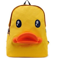 Wholesale Duck Backpacks - Yellow Duck Cartoon Backpack Children Shoulder Bag Schoolbag Bookbag Child Birthday Gift Knapsack hb101