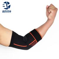 ingrosso cuscinetti a gomito da tennis-HZYEYO elastico benda da tennis gomito protettore supporto basket in esecuzione pallavolo compressione regolabile pad gomito brace, H009
