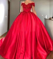frisado modesto vestidos de baile venda por atacado-Modest Fora Do Ombro Vestido De Baile Vermelho Quinceanera Vestidos Apliques De Cetim Frisado Lace Up Prom Dresses Doce 16 Vestidos