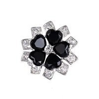 Wholesale Tibet Silver Carved Flowers - Brooches For Women Fashion Lovely Black Flower Silver Plated Carve Crystal Brooches Pins Wedding Party Gift Crystal Rhinestone brooches