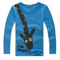 Wholesale Giraffe T Shirt Girls - Giraffe Children Long-Sleeved T-Shirt 100% Cotton 2-6Years Baby boys Blue Tee Shirts Outfits Girl Tops