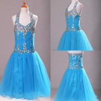 Wholesale Crystal Sequin Communion Dresses - 2015 Blingbling A Line Girls Pageant Dresses Colorful Sequins Rhinestons Crystal Beaded Halter Backless Short 2015 Flower Girls Dresses