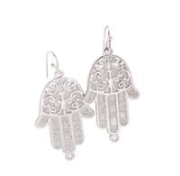 Wholesale Wholesale Hamsa Earrings - New Arrive 12 Pairs Of Fashion alloy dangler Earring Silver Tone Hamsa Hand charm Drop Earrings