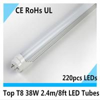 Wholesale T8 38w Lamp - Top quality t8 2400mm Tube t8 8ft led lighting led light Bulb Lamp led fluorescent tube day light 38w CE UL 12pcs lot