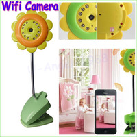 Wholesale Baby Camera Iphone - 1pcs Sunflower Wireless WiFi Camera Baby Monitor Canera Night Vision for iPhone iPad Android Wholesale Dropship
