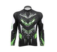 jerseys negros de manga larga al por mayor-Jersey de ciclismo de manga larga negro y verde de Autumn Man + Pantalones largos o Jersey de bicicleta de montaña D018