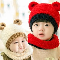 Wholesale Hat Scarf Bear Pink - Hat Baby Children's Hat Male And Female Baby Winter Cute Bear Suit Cap Ear Plush Bear Hats Scarves Sets
