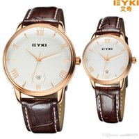 Wholesale Eyki Pair - 2015 New Fashion EYKI lovers watch Pair Leather Quartz Watch Women Men lovers watchES Luxury Brand Japan Movt Dress Wristwatch