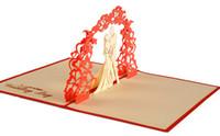 tarjetas hechas a mano para el día de la boda al por mayor-Día de San Valentín Invitaciones de Boda Invitaciones Delicadeza Regalo Hecho a mano Tarjetas Creativas 3D Pop UP regalo