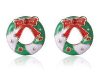 Presentes de Natal Stud Earrings Korea Retro Red Bowknot Cute 16 milímetros Ms. Ring Earrings Alloy + Esmalte Rhinestone