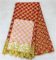 telas de encaje amarillo rojo al por mayor-Tela roja francesa de moda del cordón con tela amarilla del cordón del bordado del amarillo con las gotas para el partido BN3-3,5yards / pc