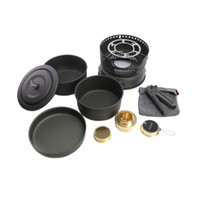 Wholesale Cw Cooking Pot - 10 in 1 ALOCS Outdoor Tableware Set Portable Camping Picnic Cooking Cookware Sets For 2-4 Persons Pots Pan Alcohol Stove CW-C05