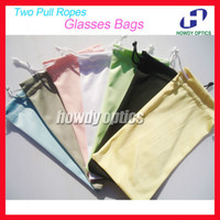 Wholesale Microfiber Bag Glasses - Wholesale-50pcs Free Shipping Quality 100% Polyester 175gsm microfiber Two Pull Ropes 7 Colors Sunglass Eyewear Glass Cloth Bag Pouch