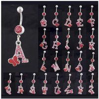 Wholesale Letter Belly Bars - Free shipping!26pcs lot Dangle Letter Crystal Navel Belly Button Bar Ring Body Piercing Jewelry