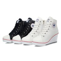 Lace-Up black and white badges - 2015 Spring badge wedges high lacing casual elevator shoes female canvas shoes high top wedge sneakers women sport shoes