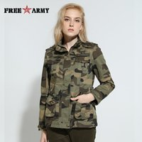 Wholesale Womens Camo Green Shorts - High Quality Camo Women Jacket Military Tactical Coat Casual Bomber Jacket Green Womens Designer Brand Coat Jacket Gs-8253B