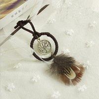 Wholesale Cartoon Handmade Keychain - Mini Dreamcatcher Handmade Dream Catcher Net With Feather Decoration Ornament Keychain Bag Hanging Decoration Gift KKA3511