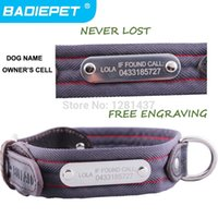 Wholesale Strong Leather Collars - Big Sale! Durable Strong Cow Leather Engraving Tag Dog Collar! ( Free Engraving pet name, owner phone NO.)