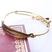 Wholesale Alex Ani Feather - 2015 Alex and Ani Girls Bracelets Bangles Retro Alloy Gold Silver Feather Heart Flag Leaf Pendant Charm Bracelet for Women Lovers Gifts