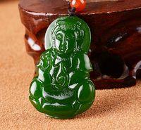 Wholesale kwan yin buddha - Natural green jadeite jade charm green Buddha pendant good luck hand-carved Kwan-Yin pendant necklace