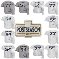 a38509bca Baseball Unisex Short New York 2017 Postseason Patch 77 Clint Frazier 55  Sonny Gray 54 Aroldis