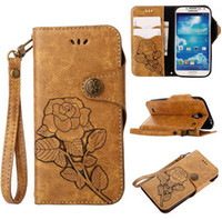Wholesale Retro S4 Mini Cover - hand strap retro vintage gorgeous rose wallet card flip leather case cover skin for Samsung Galaxy S4 S4 mini S5 S5 Mini