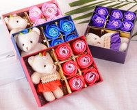 Wholesale Teddy Bear Flowers Gift - Christmas gifts, exquisite gifts, New year 6 creative simulation rose soap, flower gift box, teddy bear doll