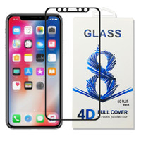 Wholesale 4d Glasses - For iPhone X Cell Phone Tempered Glass for iPhone 8 7 6 Samsung Note 8 S8 S7 Protection Film Anti-Scratch 4D 9H HD Curved Screen Protector