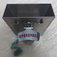 Wholesale Cap Catcher Opener - OPEN BOTTLE HERE Combo Wall Mount Bottle Opener open here   Stainless Steel Plastic Cap Catcher Set bottle cap Catch Cup combo