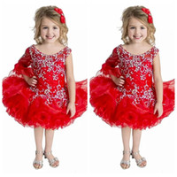 Custom Sheer Red Kids Special Occasion Pageant Cupcake Dresses Младенческие туфли с шариками Малыши Baby Girls One Shoulder Birthday Party Gowns