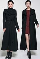 Wholesale Western Coats Plus Size - Sexy Western Winter Coats Plus Size Women Double Lapel Black Long Wool Coat Outwear Ankle Length Woolen Overcoat With Belt