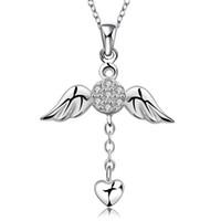 elmas melek kanat kolye toptan satış-Kolye Tasarımcı cz Elmas Toptan Moda Takı 925 Ayar Gümüş Zincir X'mas Hediye Kız Melek Kanatları Kalp Aşk Kolye Kolyeler