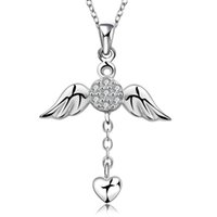 Wholesale Wing Heart Necklace Diamond - Necklaces Designer cz Diamond Wholesale Fashion Jewelry 925 Sterling Silver Chain X'mas Gift Girl Angel Wings Heart Love Pendants Necklaces