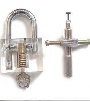 Wholesale Disc Lock Picks - New Arrival Advanced locksmith necessary Transparent Disc Type Padlock +Lock Pick Set