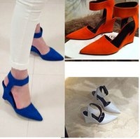 Wholesale Orange Wedge High Heels - Wholesale-2015 Women Wedges Fashion Brand Ankle Pointed Toe Pumps Sexy Sandal High Heels Black Blue Orange White Women Shoes Summer
