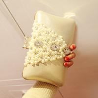 Wholesale Cheap Girls Handbags - High Quality Wedding Party Bridal Handbags Pearls Flower 2016 Evening Prom Occasion Girl Handbags Cheap In Stock Free Shipping SHJ
