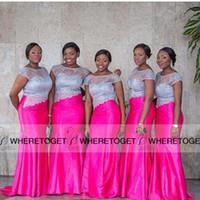 Wholesale Sexy Short Fuschia Pink Dress - 2016 Arabic Cheap Sliver Lace Mermaid Bridesmaid Dresses Cap Sleeves Fuschia Sexy Plus Size Formal Mermaid Bridesmaids Dress Long Gowns
