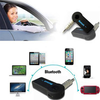 corriente de coche al por mayor-Universal 3.5mm Streaming Car A2DP Inalámbrico Bluetooth AUX Adaptador de Receptor de Música de Audio Manos Libres con Micrófono Para Teléfono MP3