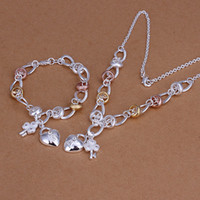 Wholesale Spoon Crystal - High grade 925 sterling silver Dichroic insets heart lock, flower spoon piece jewelry set DFMSS010 brand new 925 silver necklace bracelet