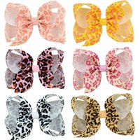 Wholesale Leopard Bow Hair Clip - Girls Hair Bow Clips Infants Leopard Grain Bowknot With Clip For School Trendy Handmade Hair Accessories Baby Hair Ribbons